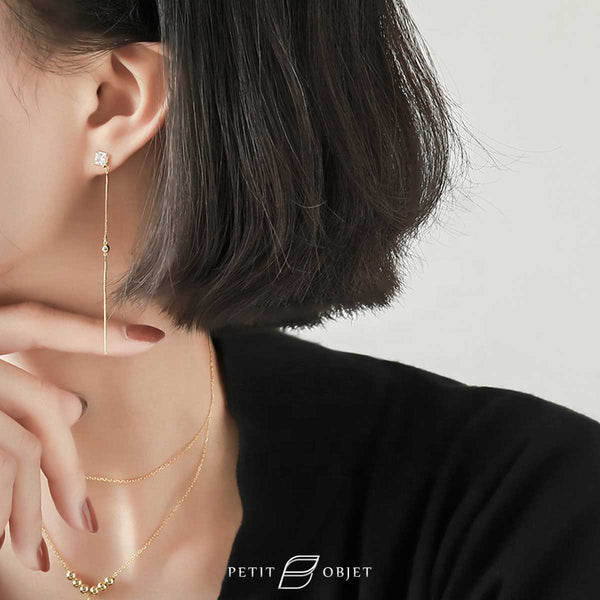 Square Chain Drop Earrings E038