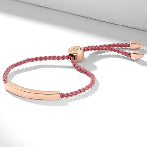 Nylon bracelet with an engravable rose gold nameplate
