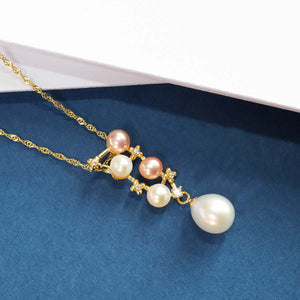 Rose / White Pearl Necklace with 925 Silver