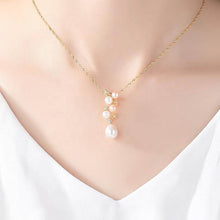 Load image into Gallery viewer, Rose / White Pearl Necklace with 925 Silver