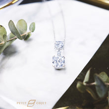 Load image into Gallery viewer, Diamond necklace in two square shaps diamonds pendant