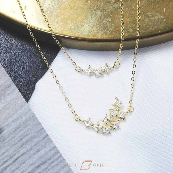 Square Diamond x Double Chain Drop Choker Necklace N025