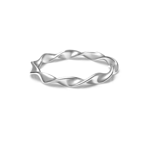 Twist wave shape ring in white gold