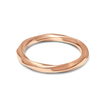 Load image into Gallery viewer, Polished rose gold ring with minimal twisted design