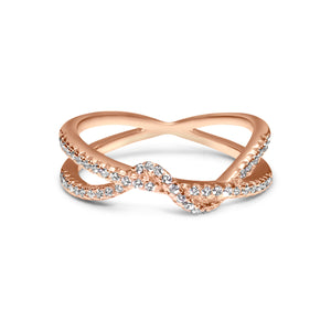 Two intertwining diamond bands ring in 18 rose gold