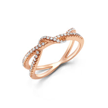 Load image into Gallery viewer, Two intertwining diamond bands ring in 18 rose gold