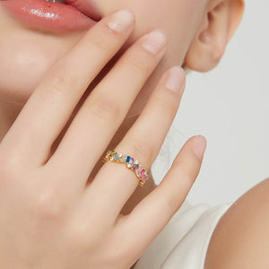 Rectangular rainbow colors diamond ring