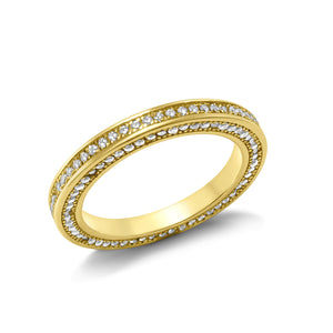Round-cut diamonds row silver ring