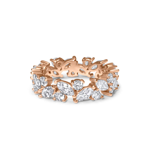 Silver Ring with Zircon plated Rose Gold