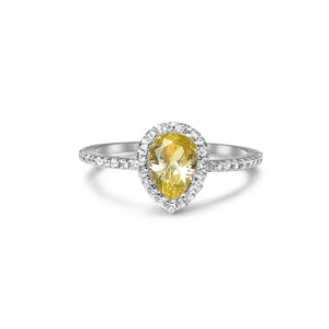 Yellow water drop diamond ring