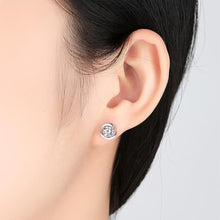 Load image into Gallery viewer, 18 k white gold diamond earrings in floral design