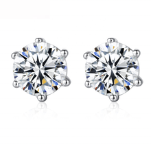 Load image into Gallery viewer, 6 –prong diamond earrings plated in white gold