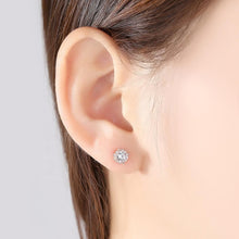 Load image into Gallery viewer, 6mm Cushion diamond earrings with halo of 12 round diamonds
