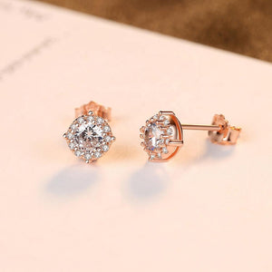 6mm Cushion diamond earrings with halo of 12 round diamonds