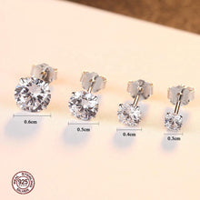 Load image into Gallery viewer, 18k white gold round-cut diamond earrings
