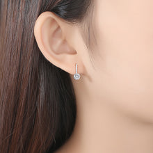 Load image into Gallery viewer, 6 diamond bar drop set with round crown drop earrings
