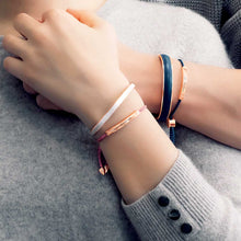 Load image into Gallery viewer, Engravable RoseGold Bangle in thick Premium Leather
