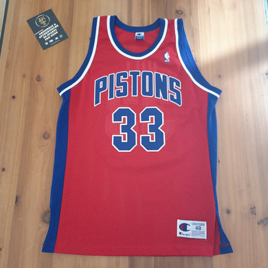 Detroit Pistons Grant Hill Champion Authentic Jersey 48 (L)