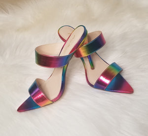 Open image in slideshow, Rainbow Straps Mule Heel