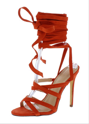 Open image in slideshow, Orange Infinity String Heels
