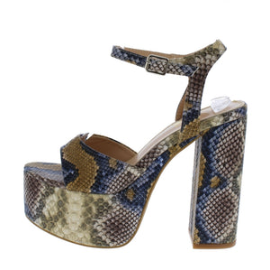 Open image in slideshow, Brown Snakeskin Heels