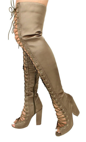 Open image in slideshow, Olive Thigh High Boot