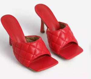 Open image in slideshow, Nicki Red Quilted Heels