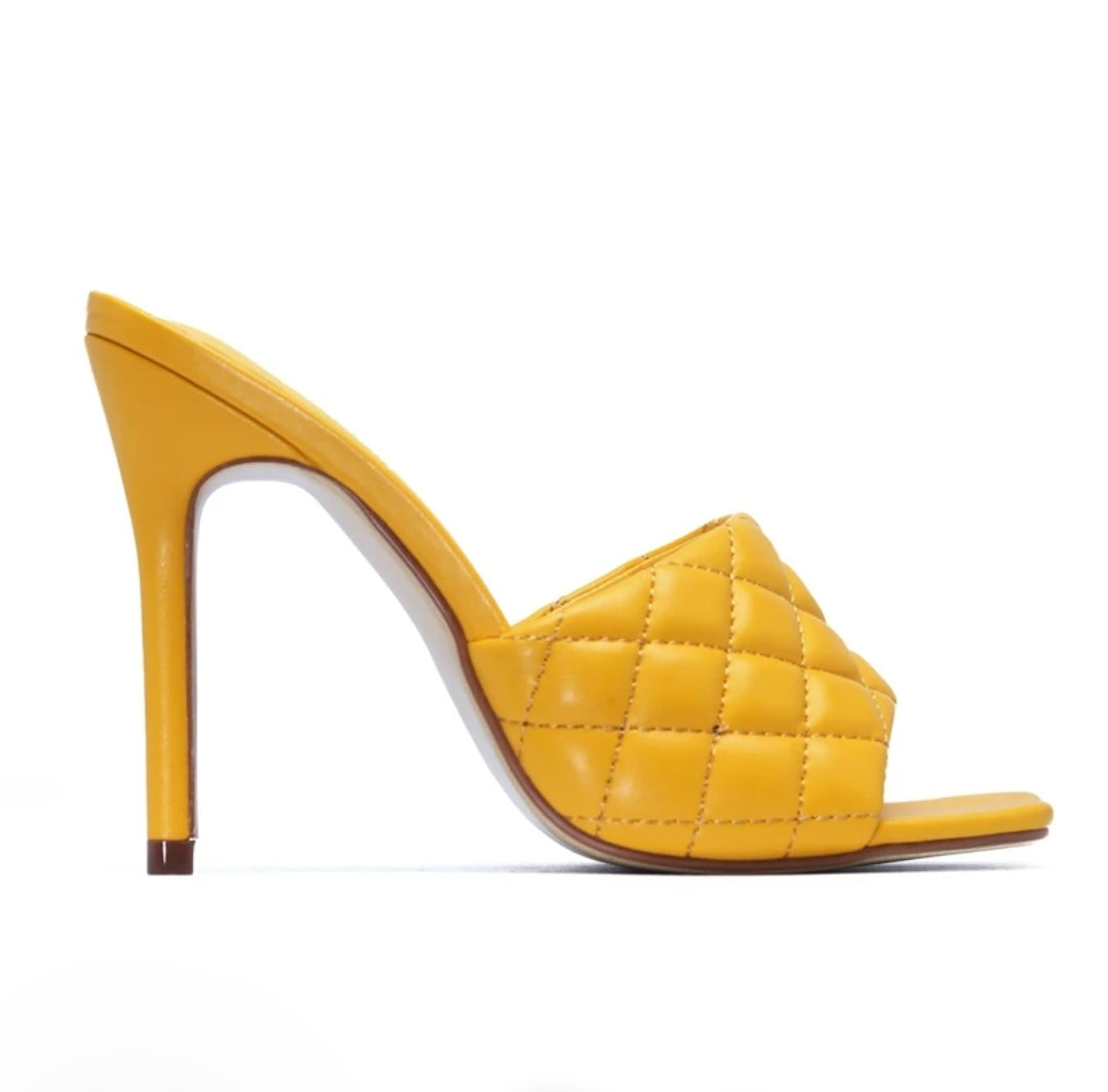 Yellow Quilted Mule Heels
