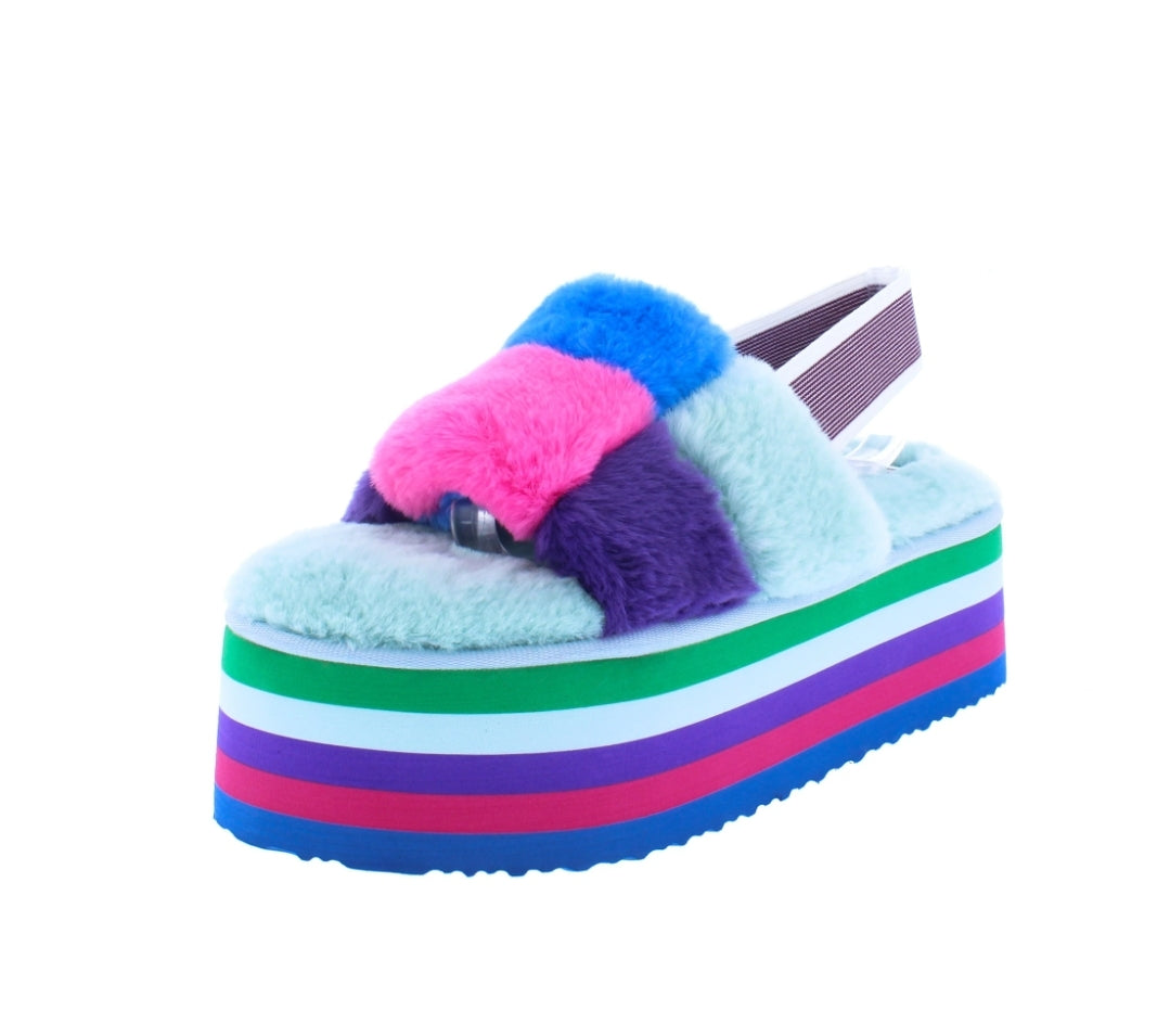 Pompom Blue Stacked Slides