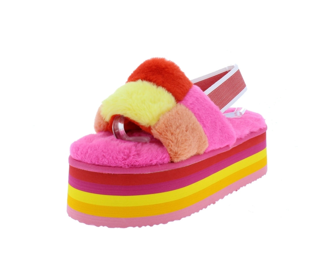Pompom Pink Stacked Slides