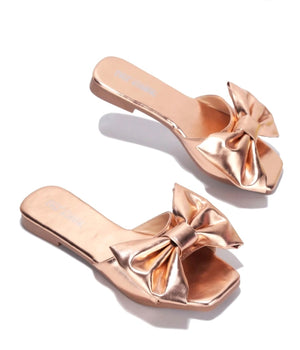 Rose Gold Bow Flats