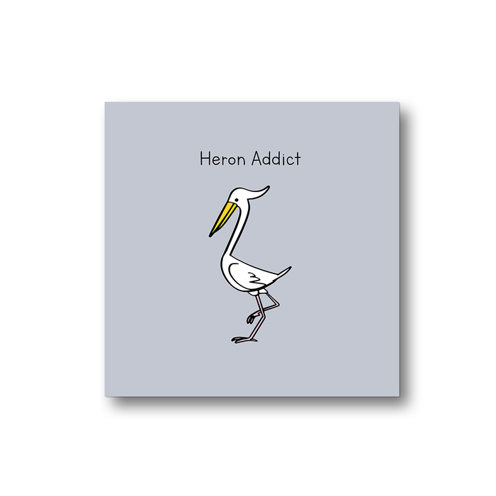 Heron Addict Magnet | Pun Gift For Twitchers, Bird Watcher, Nature Enthusiast, Ornithology, Birdwatching