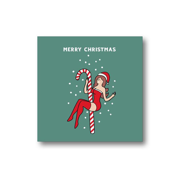 Sexy Female Santa Merry Christmas Fridge Magnet | Cheeky, Funny Christmas Decorations, Gift, Stocking Filler, LGBT, Sexy Girl Santa Pole Dancing On A Candy Cane