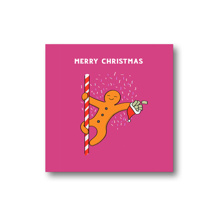 Gingerbread Man Pole Dancing Merry Christmas Fridge Magnet | Funny, Joke Christmas Gift, Stocking Filler, Decor, Gingerbread Man Dancing On Candy Cane