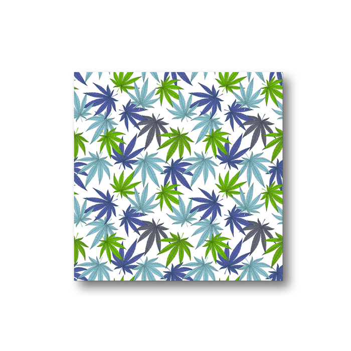 Weed Print Blue Fridge Magnet | Cannabis Leaf Illustration In Blues, Green & Grey, Hand Illustrated Fine Art Marijuana Leaves, Colourful Kitchen Magnet