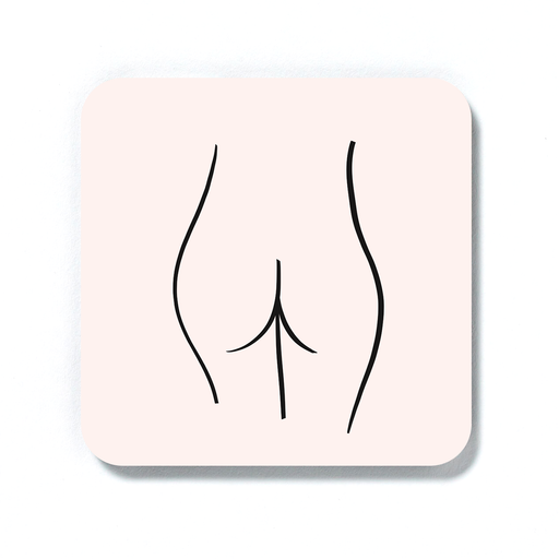 Abstract Nude Female Bottom Pink Coaster | Woman's Bum Drinks Coaster