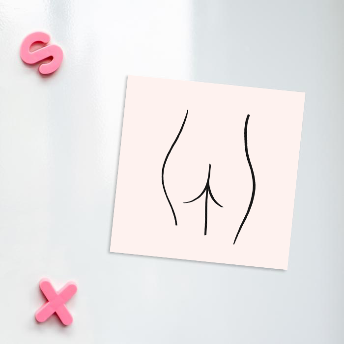 Abstract Nude Female Bottom Pink Magnet | Bum Print Fridge Magnet, Rude Fridge Magnet, Abstract Nude Magnet, Female Empowerment Magnet, LGBT Fridge Magnet