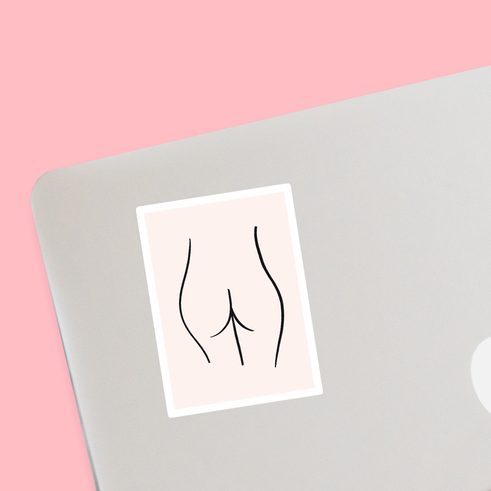 Abstract Nude Female Bottom Pink Sticker | Naked Female Form Line Drawing Sticker, Derrière, Bum, Feminist, Female Empowerment