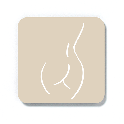 Abstract Nude Female Derrière Beige Coaster | Nude Female Form Line Drawing Drinks Mat, Bum Print, Bottom