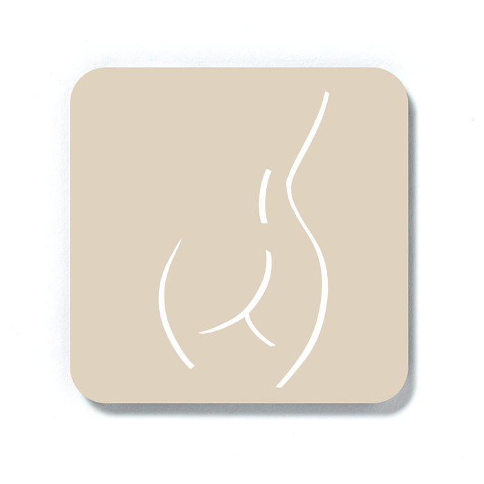 Abstract Nude Female Derrière Beige Coaster | Naked Woman Drinks Coaster