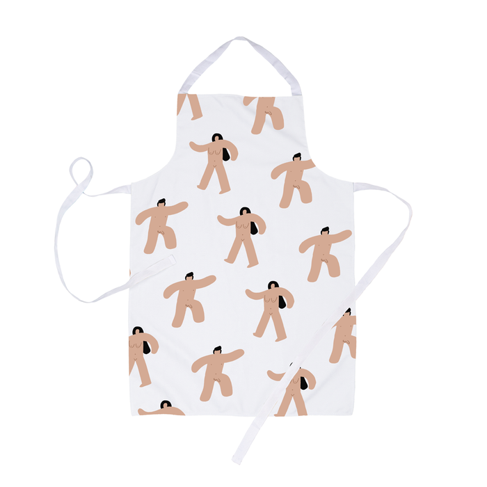 Abstract Nude Men And Women Apron | Funny Nudity Print Canvas Apron, Naked Marching Men And Women