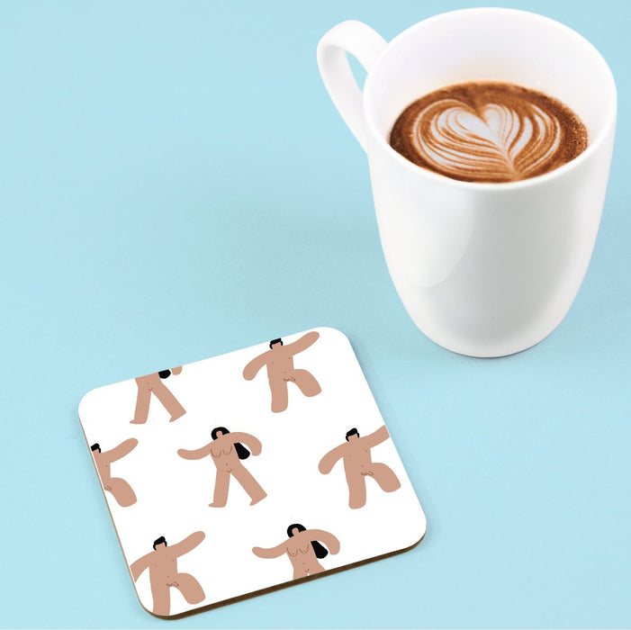 Abstract Nude Men And Women Coaster | Naked People Coaster, Rude Coaster, Abstract Nude Drinks Mat, Naked Marching Men And Women Coaster, LGBTQ+