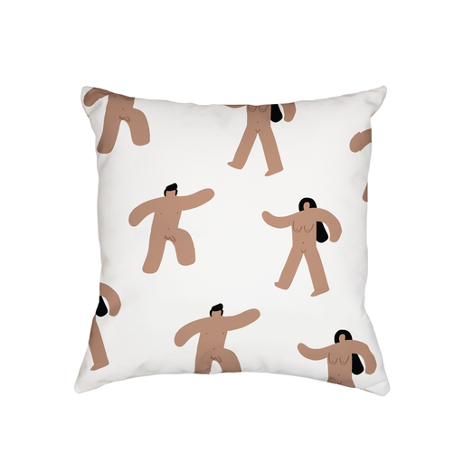 Abstract Nude Men And Women Cushion | Funny Abstract Nude Marching Men And Women, Art Deco, Retro Print Cushion