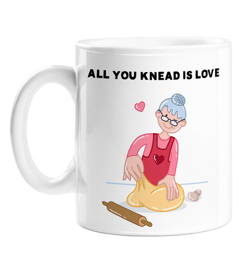 All You Knead Is Love Mug | Funny, Baking Pun Love Mug, Lady Kneading Dough, Cute Valentine's Or Anniversary Gift, All You Need Is Love