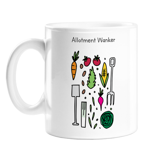 Allotment Wanker Mug | Rude, Funny Gift For Gardener, Allotment Owner, Garden, Gardening Tools, Veggies, Plants