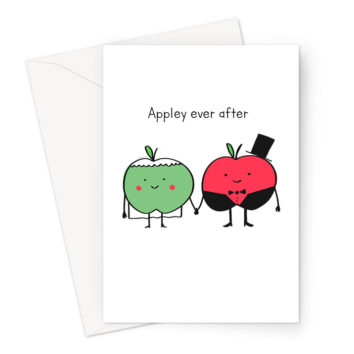 Appley Ever After Greeting Card | Cute, Kawaii, Funny Apple Pun Engagement Card, Congratulations, Apple Bride And Groom Doodle