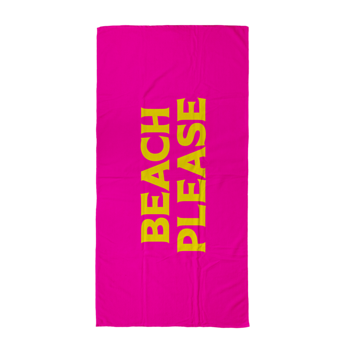 Beach Please Beach Towel | Hen Do Beach Towel, Bright Pink Pop Art Beach Towel For Her, Bitch Please