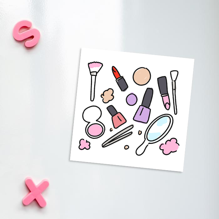 Beauty Print Fridge Magnet | Beauty Print Kitchen Magnet For Make Up Artist Or Beautician, Blush, Lipstick, Nail Varnish, Tweezers, Brushes, Mirror