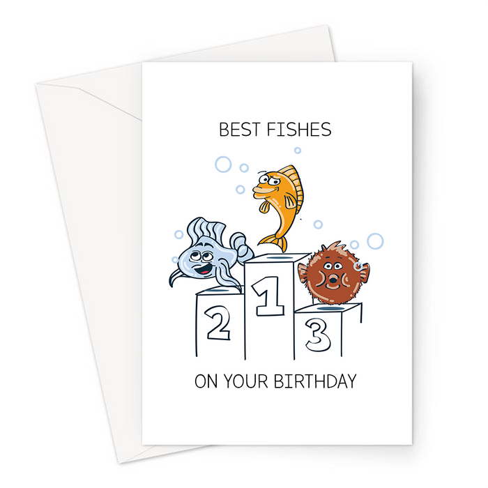 Best Fishes On Your Birthday Greeting Card | Funny Fish Pun Birthday Card, Fishes On A Winners Podium, Best Wish On Your Birthday