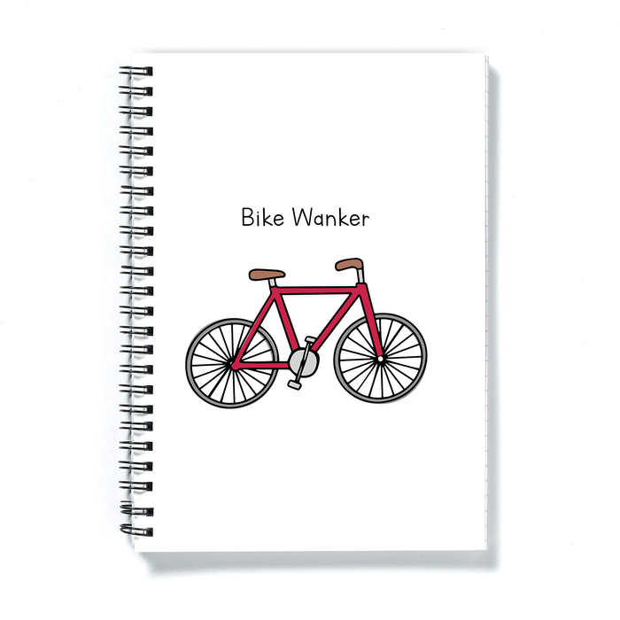 Bike Wanker A5 Notebook | Rude, Funny Gift For Cyclist, Biker, Cycling Journal, Biking Diary